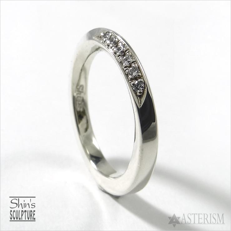 Shin's Sculpture(シンズ スカルプチャー)「Mebius Circle Ring II CZ Custom(メビウス サークル リング 2 CZカスタム)」SILVER 925、キュービックジルコニア / 7号~23号【銀 レディース メンズ アクセサリー 指輪 手彫りメビウスの輪 シルバー 925】R-28