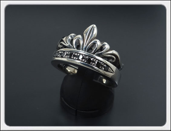 Shin's Sculpture(シンズ スカルプチャー)「Antique Tiara Ring BCZ(アンティーク ティアラ リング BCZ)」SILVER 925、ブラックキュービックジルコニア / 7号~23号【レディース メンズ アクセサリー ジュエリー 指輪 シルバー 925】R-30BCZ