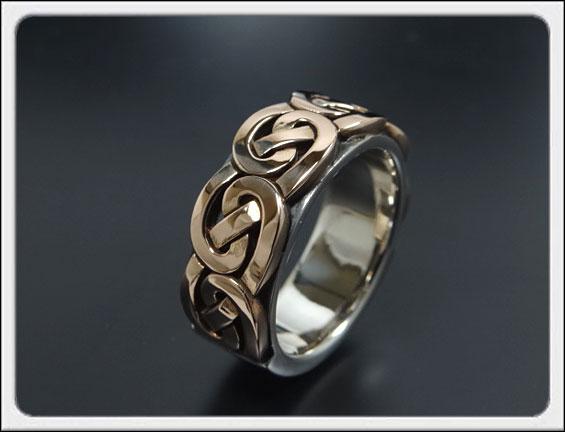 Shin's Sculpture(シンズ スカルプチャー)シルバー×K18ピンクゴールド「Celtic Brade Ring type A(ケルト ブレイド リング タイプA)」 / 9号~23号【ケルト文様 組紐 メンズ レディース ペア 指輪 セルティック 手彫り 高品質 ケルト民族】R-35PG