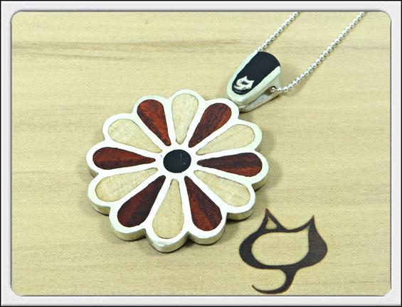 木人軒(モクジンケン)「flower/フラワー」(flower/7)ウッド/木製/象嵌/ペンダント/ネックレス/メンズ/レディース
