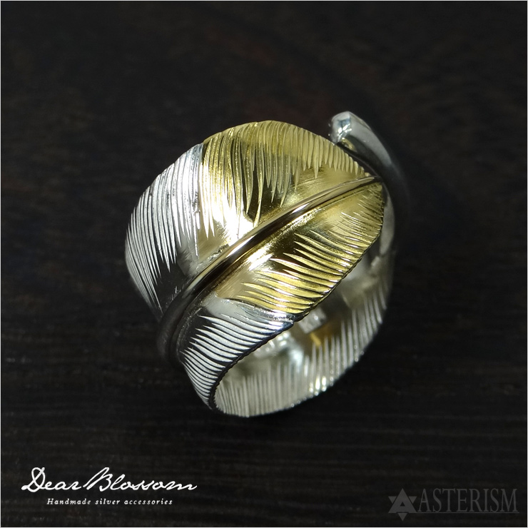 Dear Blossom(ディアブロッサム)K18先金特大フェザーリング(R-054)インディアンジュエリー/羽/大きいサイズ/指輪