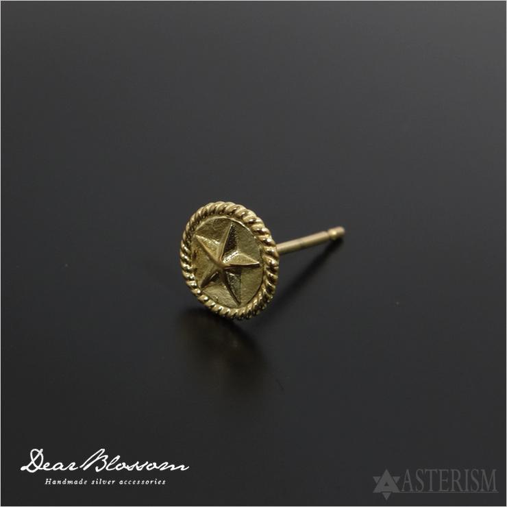 Dear Blossom(ディアブロッサム)『K18縄目付きスターポイントピアス』(P-002-K18)インディアンジュエリー/ゴールドピアス/アポロコンチョ/メンズ/レディース