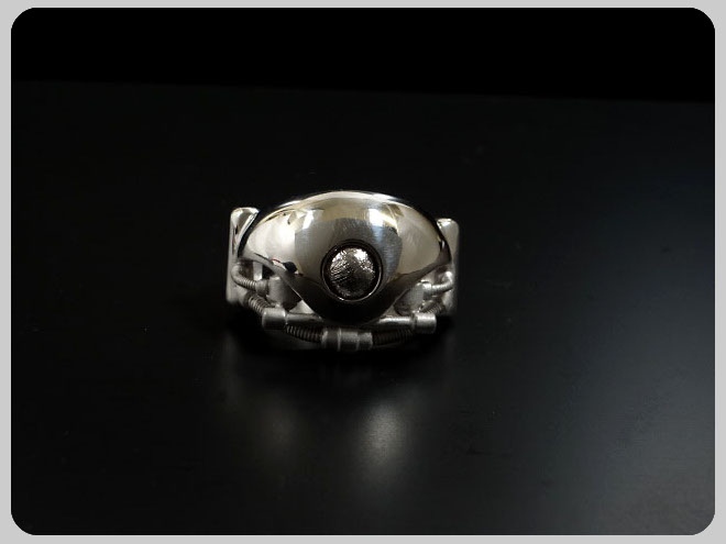 ENER エネル RING-07 SPIRIT 心 スピリット SV BKギベオン隕石 メンズ リング 返品保証 通勤 通学 送别会 迎春 お祝