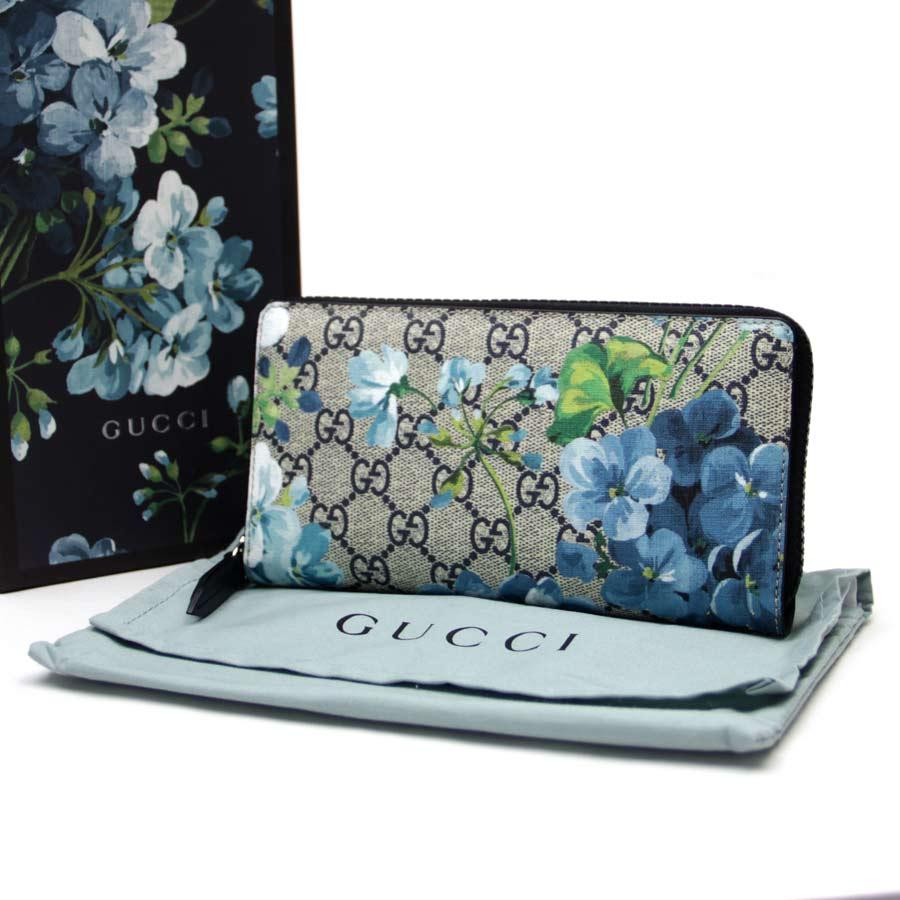 1babf5f14b7d08 BrandValue: Gucci Gucci zip around wallet GG bloom ◇ beige x navy ebony GG  スプリームキャンバス ◇ unused ◇ 403665 - b10066 | Rakuten Global Market