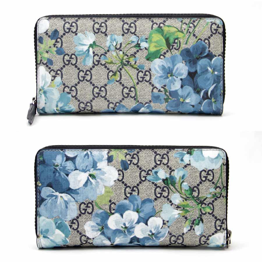 aae345edee246f [new article] Gucci [Gucci] GG bloom zip around wallet beige x navy ebony  GG スプリームキャンバス mint condition