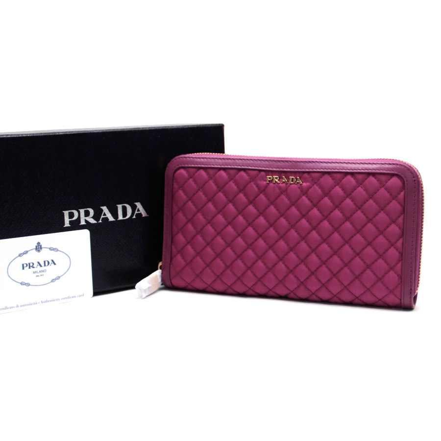1df87f6b275  new article  Prada  PRADA  quilting outlet article round fastener long  wallet pink nylon x leather outlet