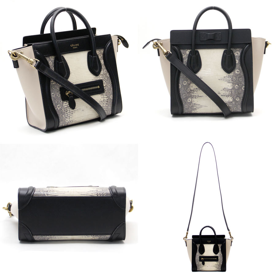 171925a9ae7c  new article  Celine  CELINE  luggage nano shopper 2Way bag handbag  shoulder bag Lady s beige x black lizard x leather mint condition