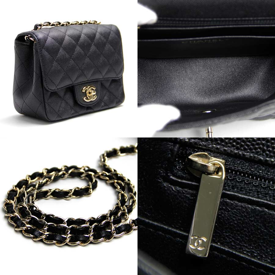 7d712be0c341 [new article] I take Chanel [CHANEL] mini-matelasse CC here mark slant, and chain  shoulder bag black caviar skin leather x gold metal fittings are unused