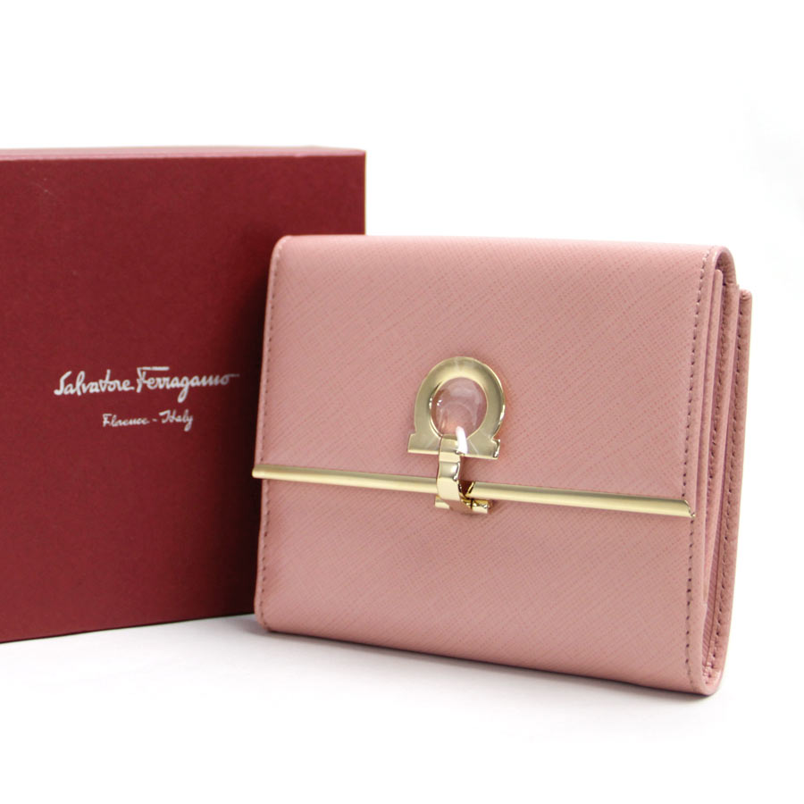 buy popular b1ae6 c1e16 薩爾瓦托雷Ferragamo Salvatore Ferragamo對開錢包ganchinipinkureza x黄金金屬零件女士-b10259