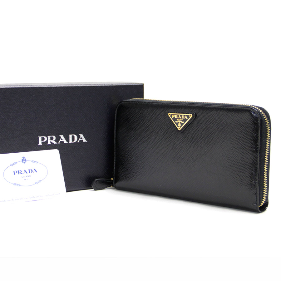 ddbcaedd62b2b3 BrandValue: Prada PRADA round fastener long wallet サフィアーノアウトレット product zip  around wallet black x gold metal fittings patent leather SAFFIANO ...