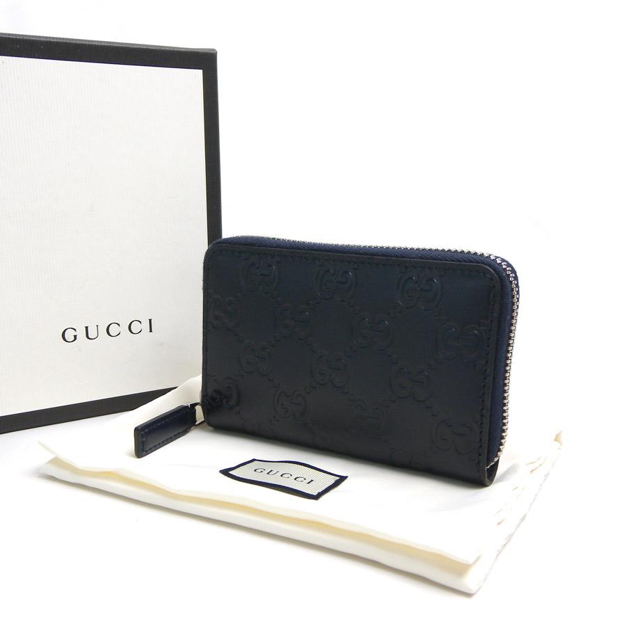 【展示品】【新品】グッチ Gucci カードケース シグネチャー ネイビー レザーxシルバー金具 ラウンドファスナー レディース メンズ 255452 新品送料無料 - b10188