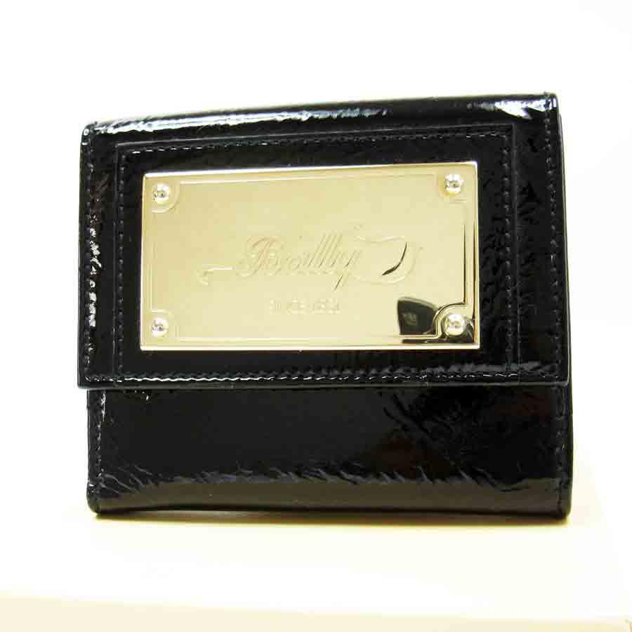 バリー BALLY Wホック二つ折り財布 ブラックxシルバー エナメル 9800円均一【中古】【定番人気】 - t6956
