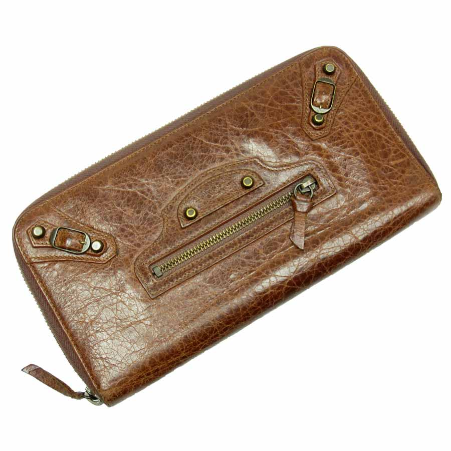 b41d372318ae  basic popularity   used  バレンシアガ  BALENCIAGA  giant money organizer round  fastener long wallet Lady s brown leather