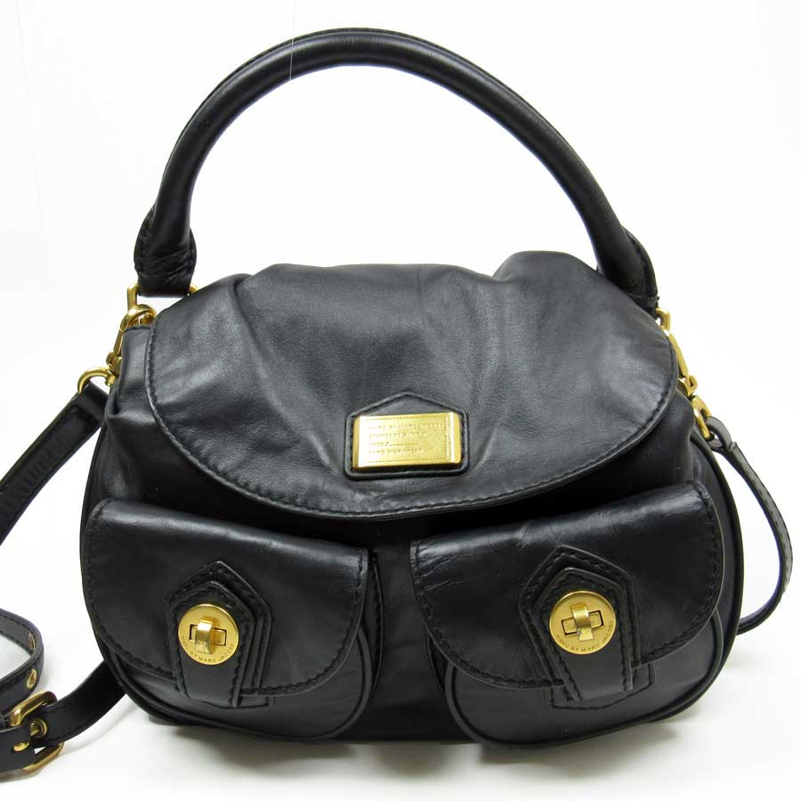 d76571791f7c Mark by mark Jacobs  MARC BY MARC JACOBS  shoulder bag 2Way bag lady black  x gold leather  used  constant seller popularity
