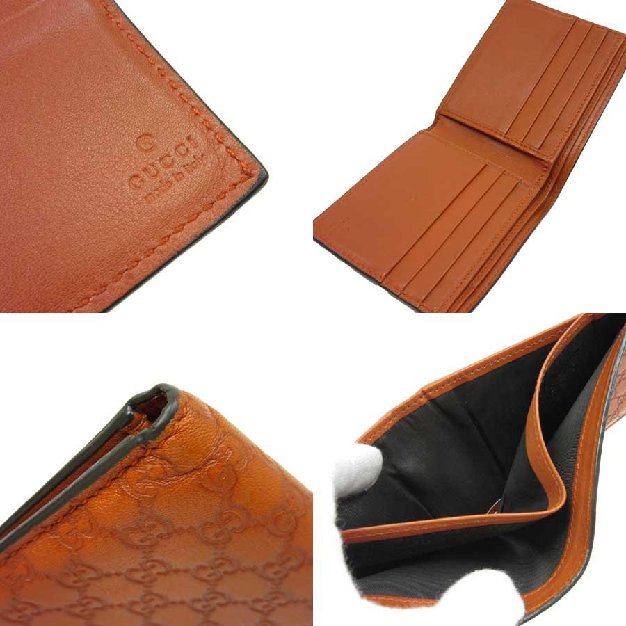 古驰GUCCI对开钱包微古驰◆橙子型推皮革◆经典的受欢迎的◆女士人-t9894