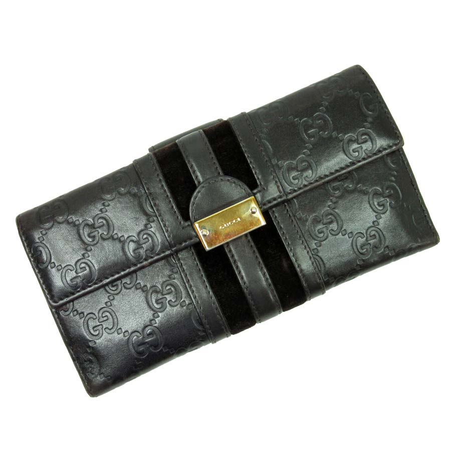 Gucci GUCCI W hook folio long wallet Gucci sima ◆ brown x gold leather x velour ◆ constant seller popularity ◆ Lady's - h13002