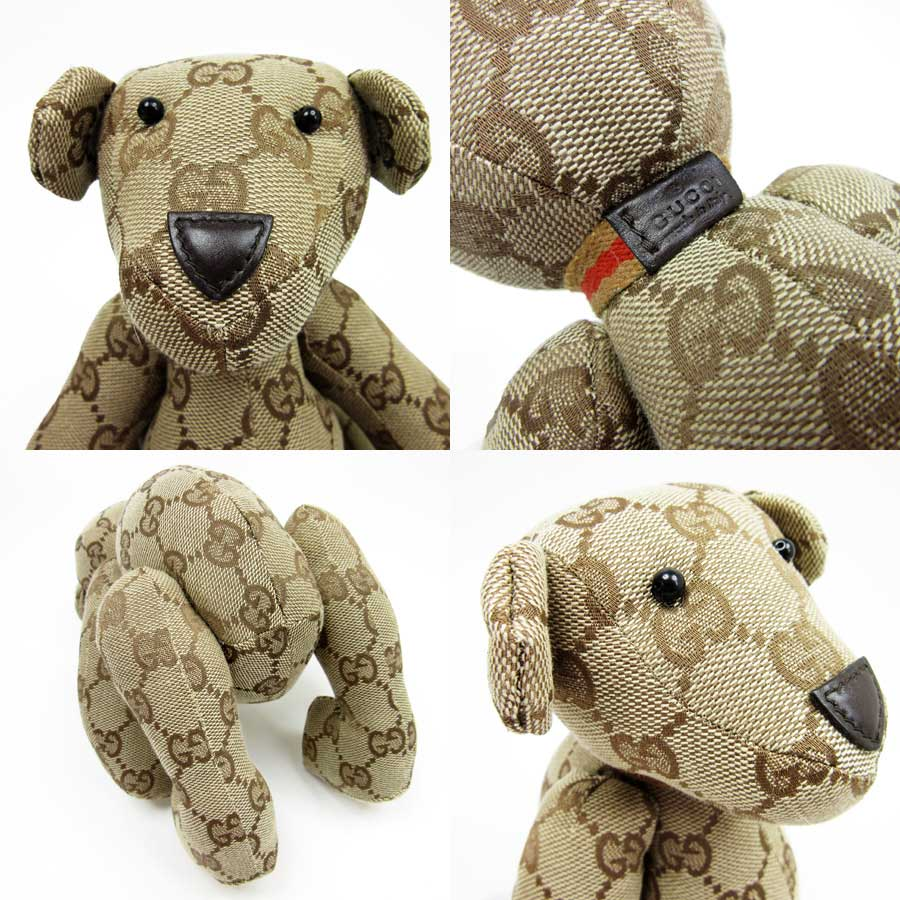 Bear teddy bear GG pattern teddy bear ◆ beige canvas ◆ recommended ◆ Lady's - h13060 including the Gucci GUCCI sewing