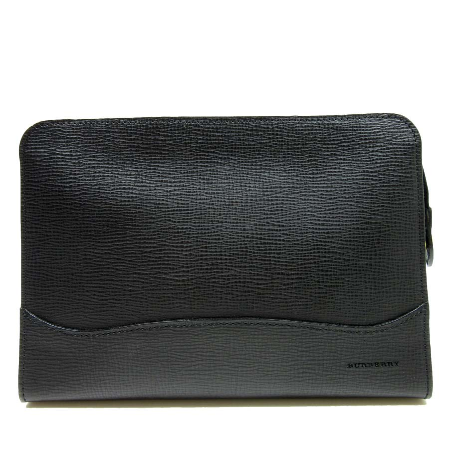 2a0ba53c0a72 Burberry  BURBERRY  clutch bag second bag Lady s men black leather  used   constant seller popularity