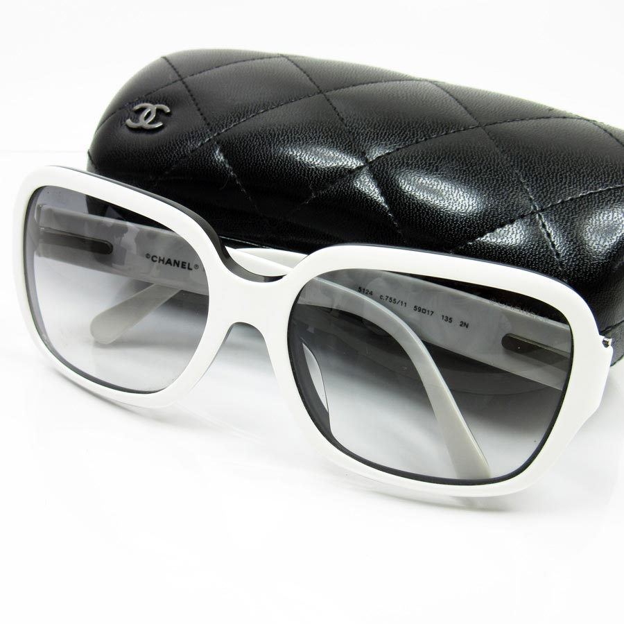 hot products cheap for sale top fashion Chanel CHANEL sunglasses 59 □ 17 135 matelasse ◆ lens: A black frame: White  x black plastic ◆ constant seller popularity ◆ Lady's - h13229