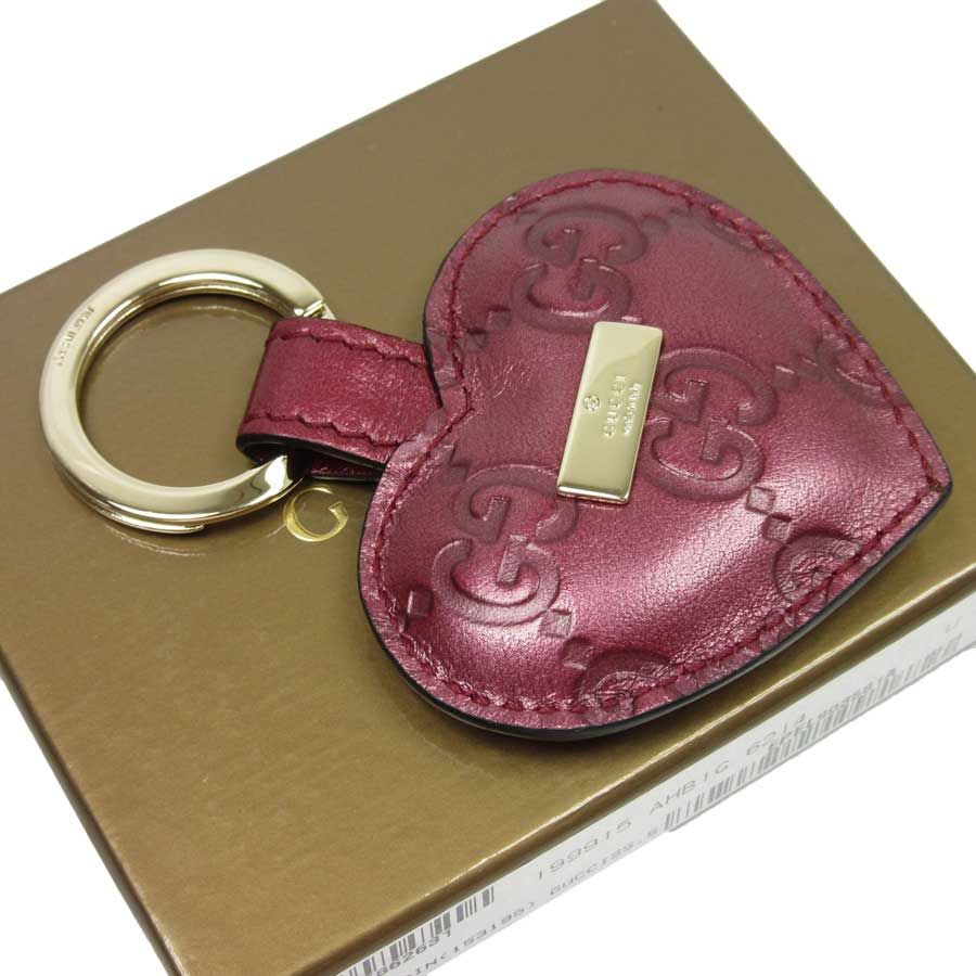 9f91f4482 BrandValue: Gucci GUCCI key ring key ring Gucci sima ◇ pink x gold Gucci  sima leather ◇ constant seller popularity ◇ Lady's - h13260 | Rakuten  Global ...