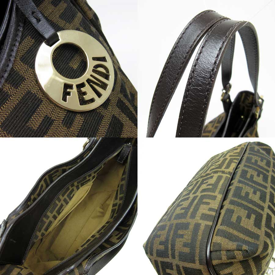 Canvas x leather ◆ recommended ◆ Lady's men - t10251 of Fendi FENDI ショルダーバッグズッカ ◆ Brown line