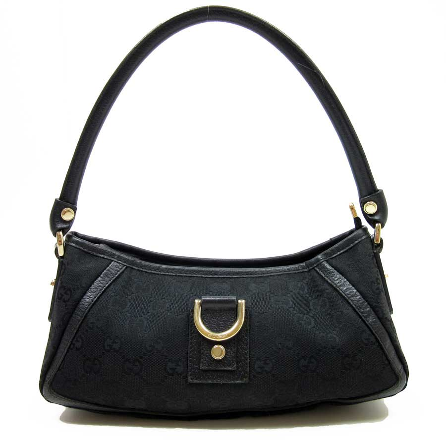 Gucci GUCCI shoulder bag GG pattern ◆ black canvas x leather ◆ constant seller popularity ◆ Lady's - t10316