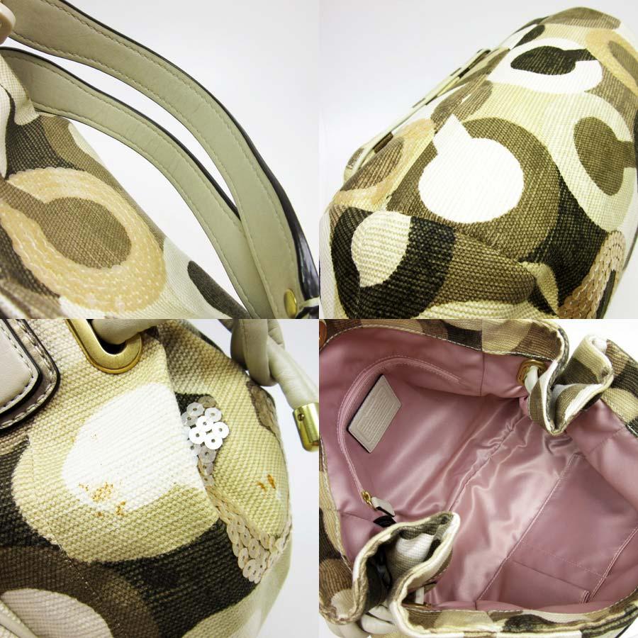 Coach COACH shoulder bag op art ◆ beige x khaki x silver x gold canvas x leather x spangles ◆ constant seller popularity ◆ Lady's - h13627