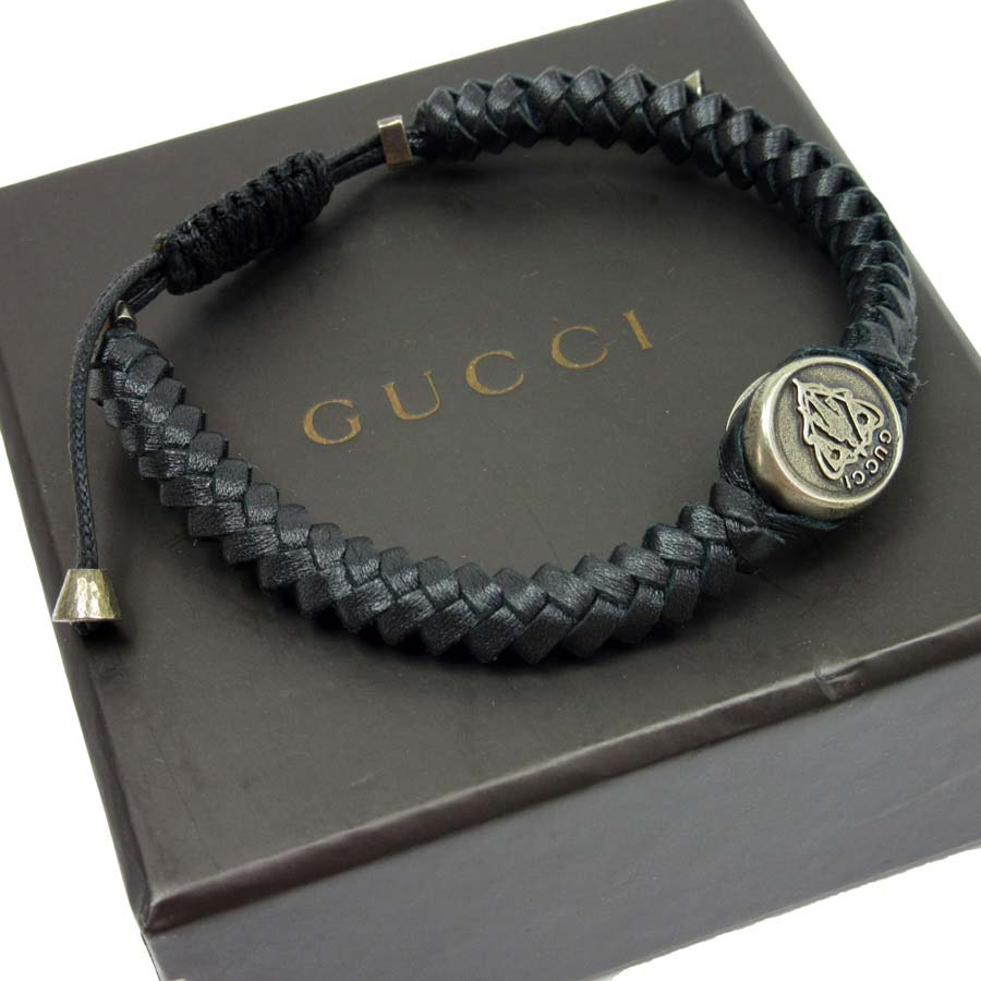 fa862f20c BrandValue: Gucci GUCCI bracelet crest tag wave ◇ silver x black leather  x925 ◇ recommended ◇ Lady's men - t10596 | Rakuten Global Market