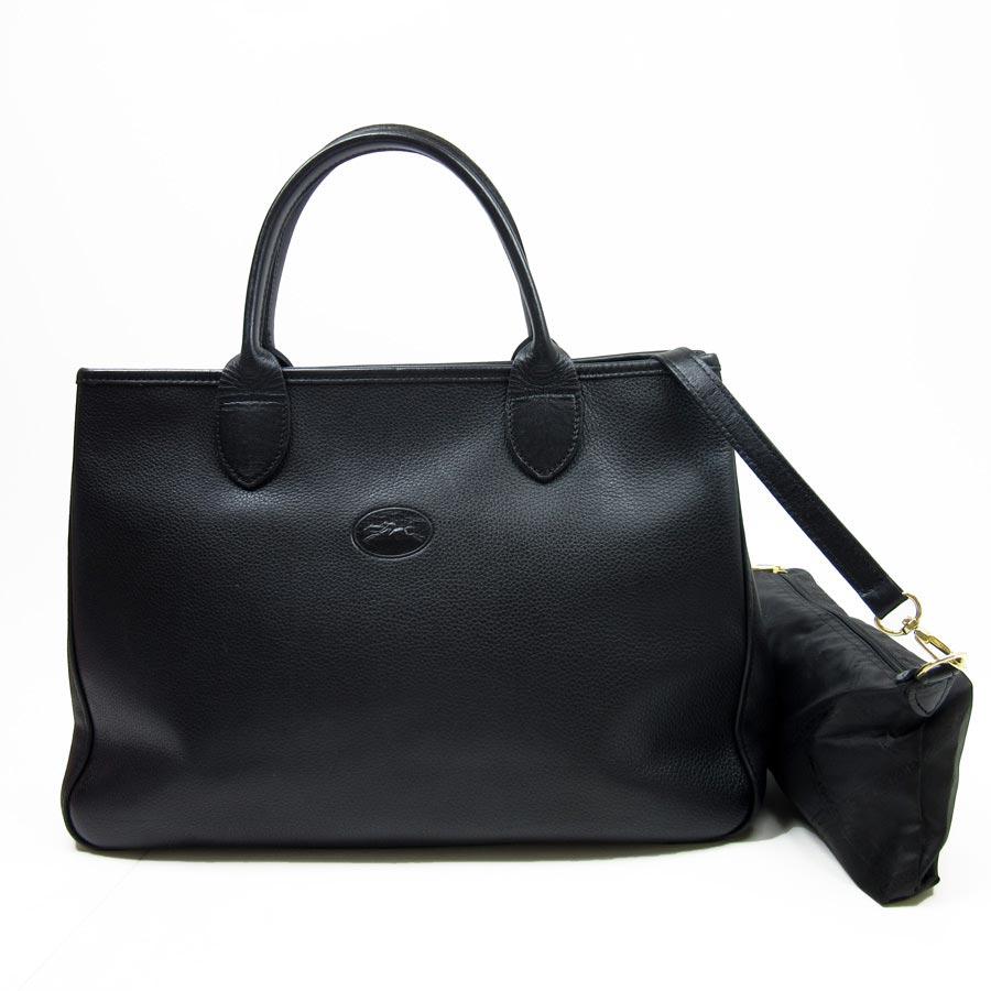 Longchamp  LONGCHAMP  handbag tote bag Lady s black leather  used  constant  seller popularity 7b13cee5af56f