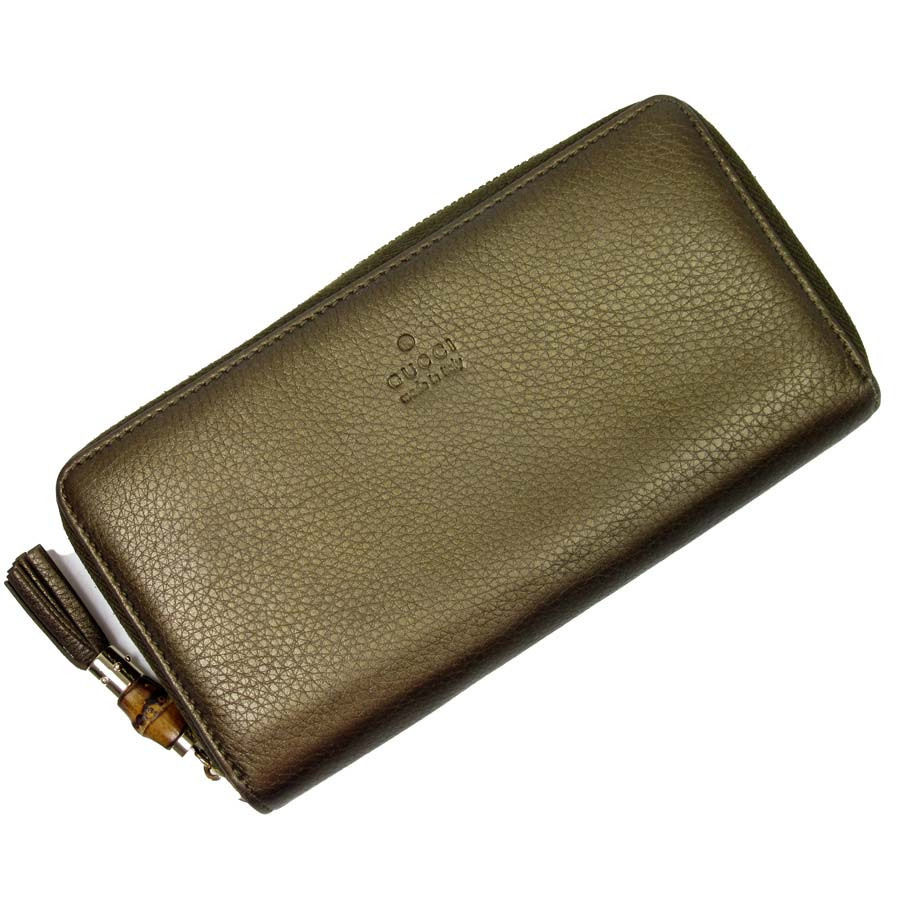 70b0ee12a46718 [basic popularity] [used] Gucci [GUCCI] bamboo round fastener long wallet  Lady's men bronze leather