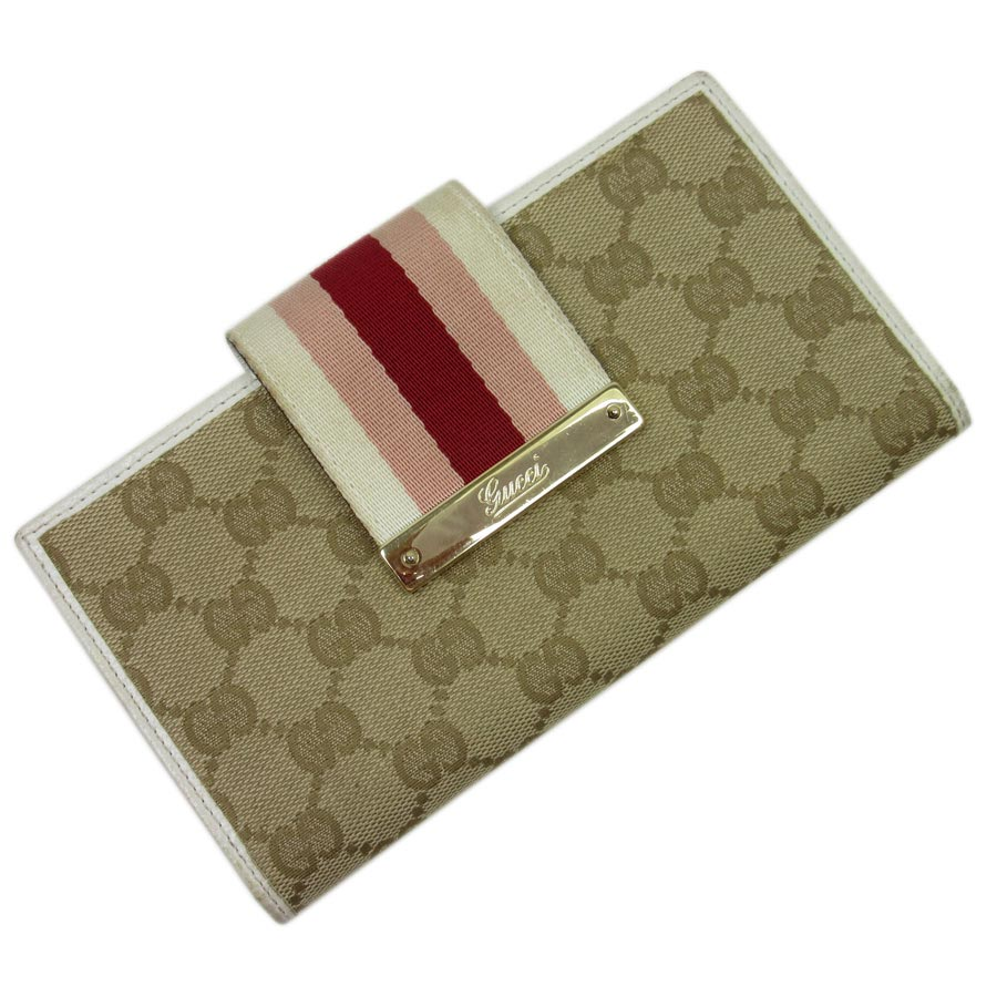 16c6ecefebc2 BrandValue: Gucci GUCCI folio long wallet GG pattern ◇ beige x white x pink  x red x gold canvas x leather ◇ constant seller popularity ◇ Lady's -  t10721 ...