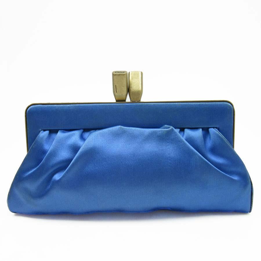 Kuroe Chloe Clutch Bag Gold X Blue Satin Constant Er Pority Lady S H13892