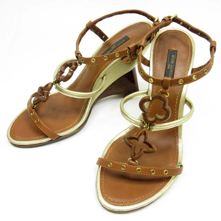 a667f09e6 Louis Vuitton  Louis Vuitton  monogram flower sandals (36 1 2) Lady s wedge  x leather brown x gold  used  constant seller popularity
