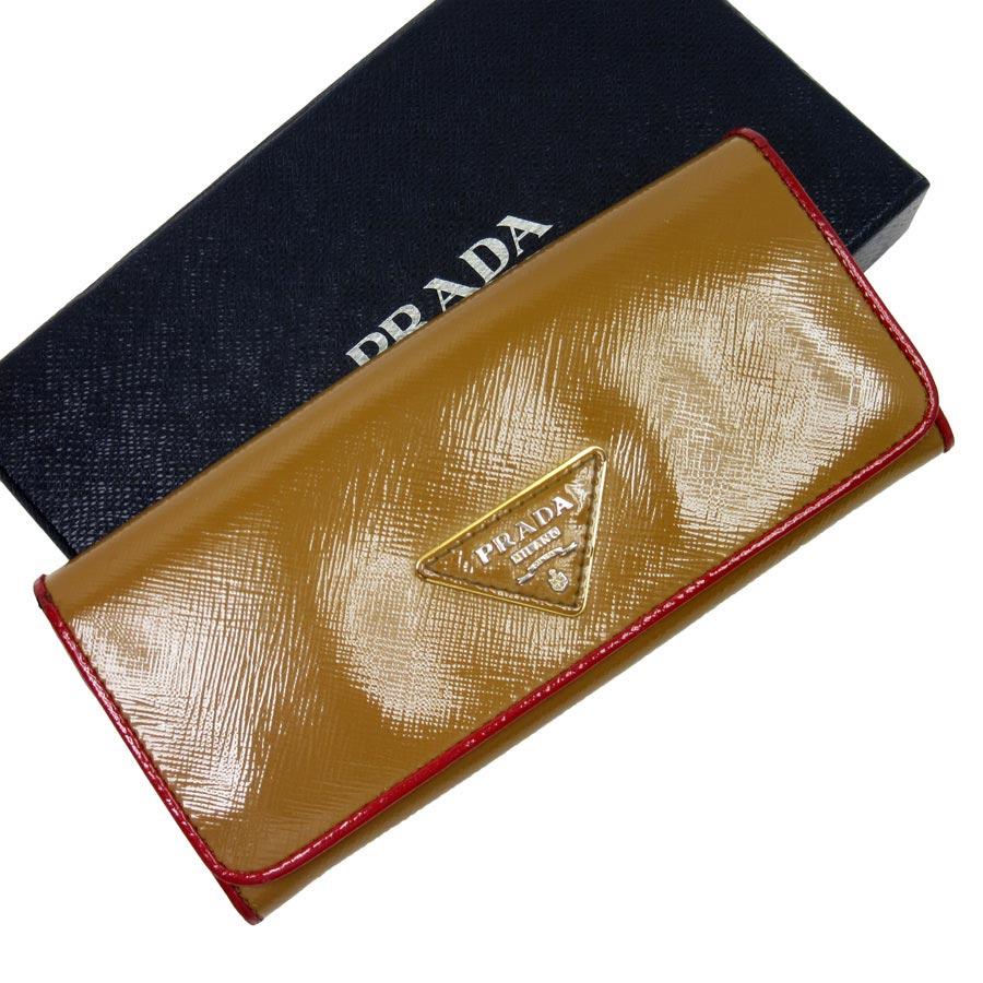 プラダ 二つ折り長財布 三角ロゴ ベージュxレッド PVC PRADA レディース 【中古】【定番人気】 - t10757