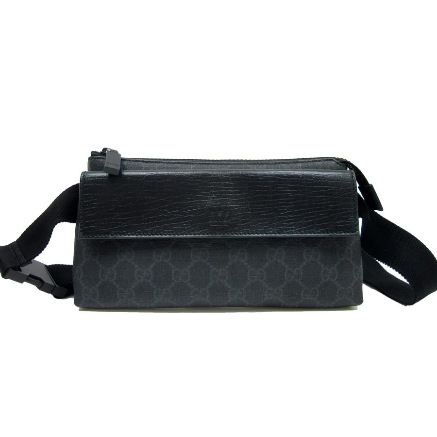 f283c0c6edf2 BrandValue: Gucci GUCCI waist porch body bag GG plus ◇ gray x black PVCx  leather ◇ constant seller popularity ◇ Lady's men - t10857 | Rakuten Global  ...