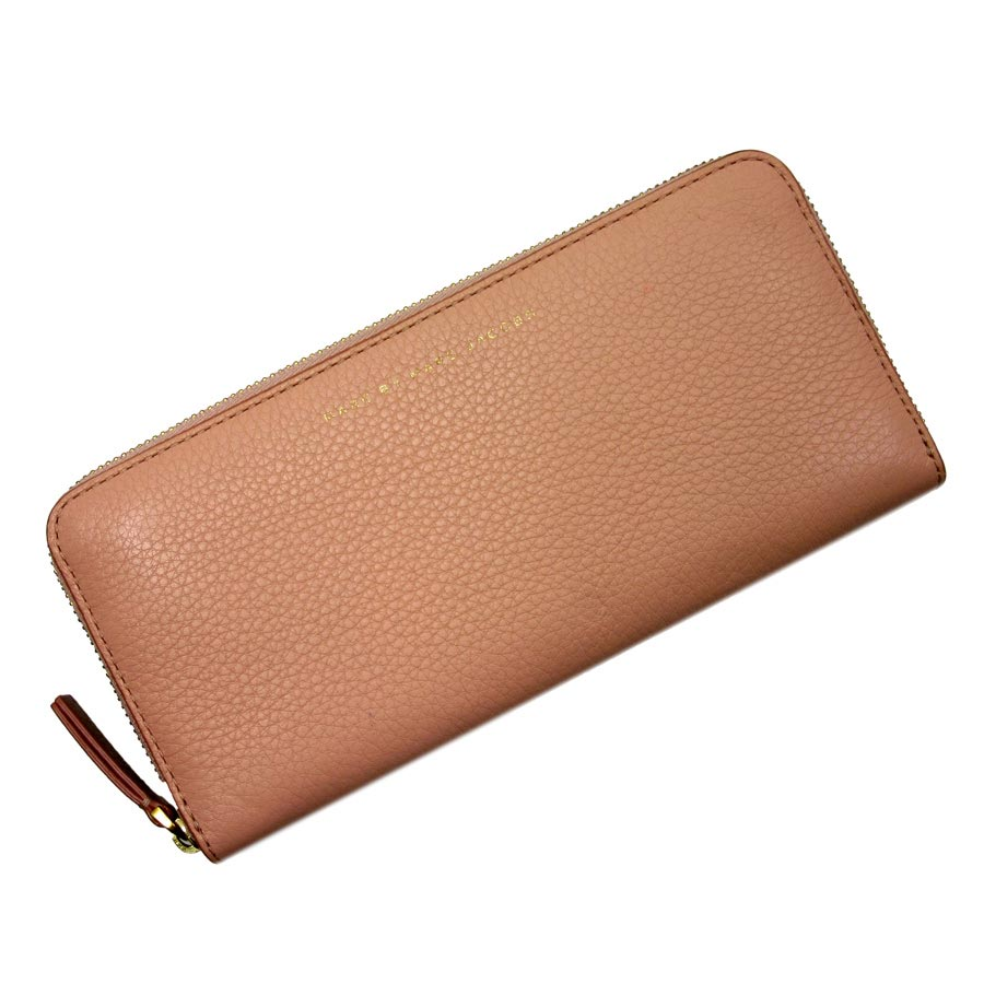 610d73bc0d58 Mark by mark Jacobs  MARC BY MARC JACOBS  round fastener long wallet Lady s  pink x brown leather  used  constant seller popularity