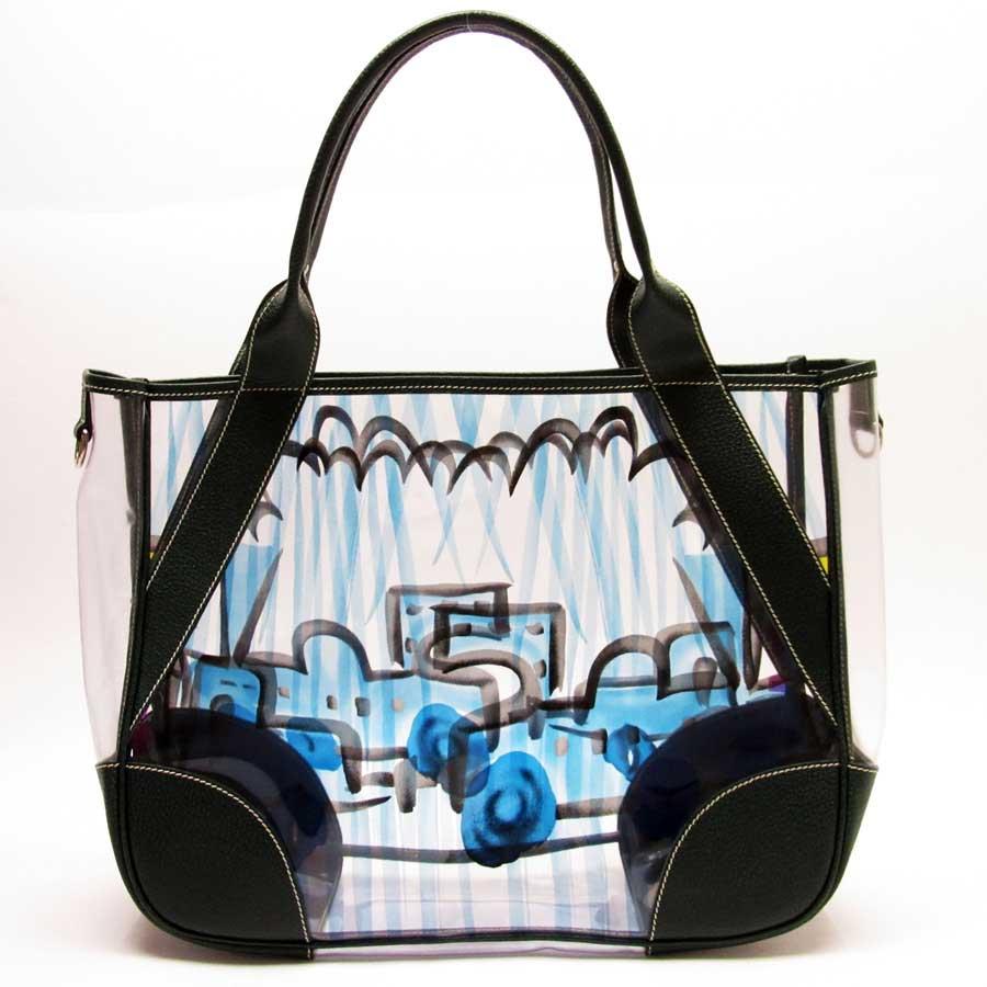 78ce52d09046 BrandValue: Prada PRADA shoulder bag tote bag triangle logo clear x green  vinyl x leather Lady's - h18479 | Rakuten Global Market