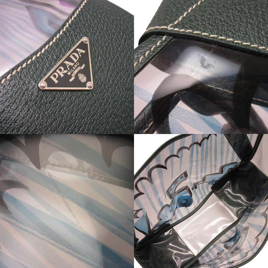 09a7572fb566 [basic popularity] [used] Prada [PRADA] triangle logo shoulder bag tote bag  Lady's clear x green vinyl x leather