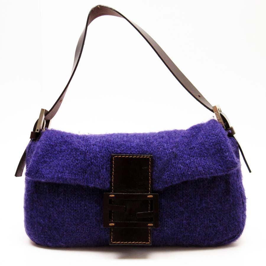 09b5bdda31 BrandValue: Fendi FENDI shoulder bag purple x brown wool x leather Lady's -  t11580 | Rakuten Global Market