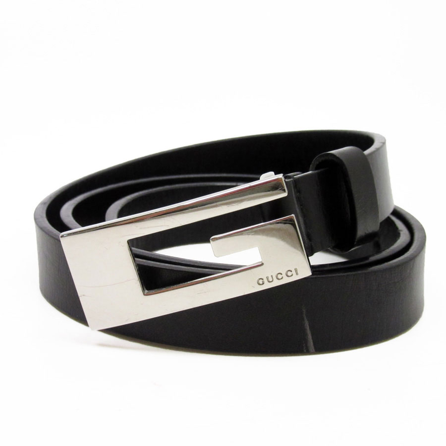 826386f03826a  used  Gucci  GUCCI  G motif belt (75 30) Lady s black x silver leather  constant seller popularity