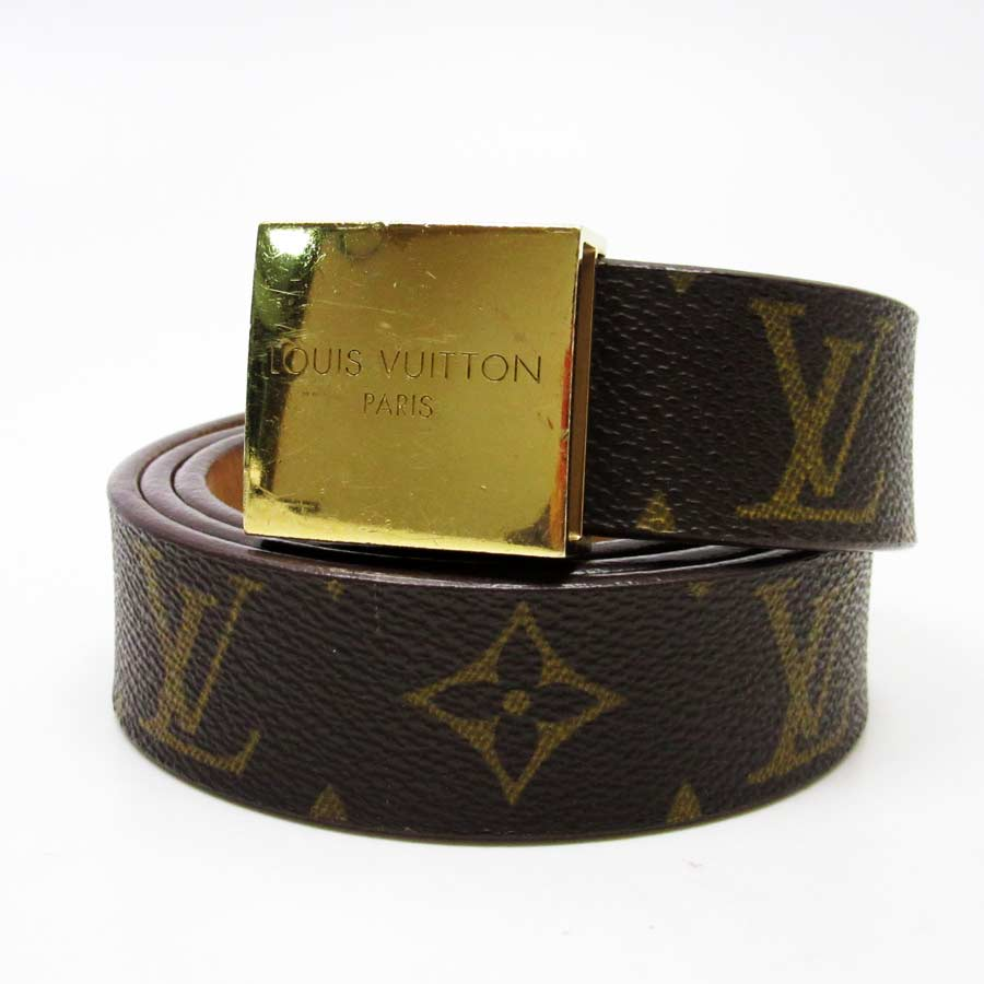 8c191d1a30a0  used  A Louis Vuitton  Louis Vuitton  monogram canvas sun Tulle square belt  Lady s men buckle  There is gold monogram reason