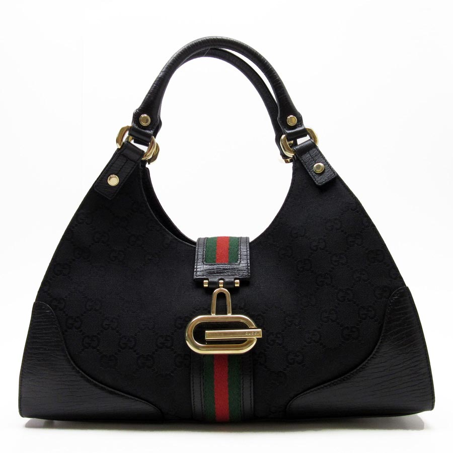 1eb5aa14da51 BrandValue: Gucci GUCCI shoulder bag GG pattern ウエビングライン ◇ black x gold x  green x red canvas x leather ◇ constant seller popularity ◇ Lady's ...