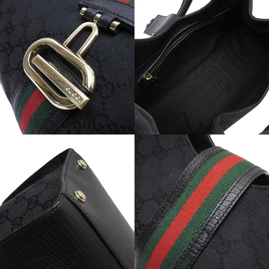 1dce6851ec9d [used] Gucci [GUCCI] GG pattern ウエビングラインショルダーバッグレディースブラック x gold x green x  red canvas x leather constant seller popularity