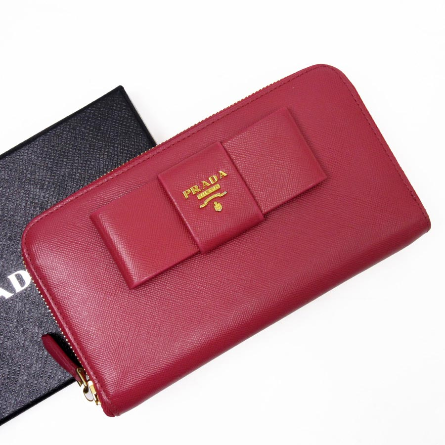 9fb21967ab8  basic popularity   used  Prada  PRADA  round fastener long wallet Lady s  pink x gold leather