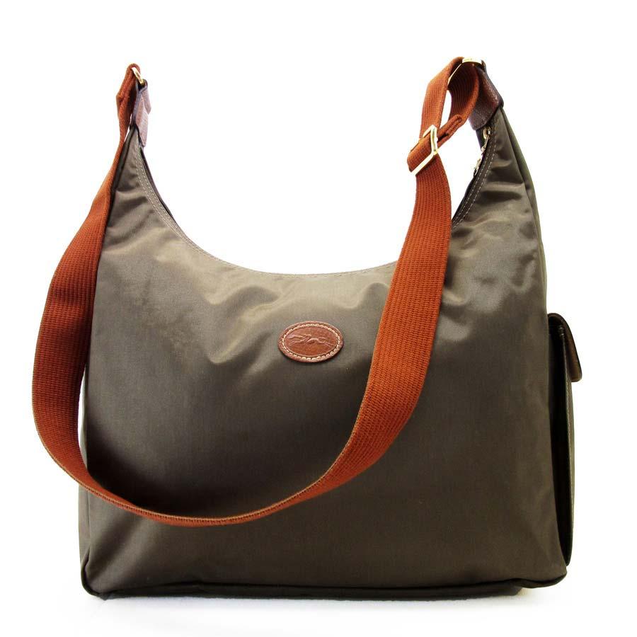 87e886fa23e BrandValue: Take Longchamp LONGCHAMP slant; shoulder bag khaki x brown  nylon x leather Lady's - h15808 | Rakuten Global Market