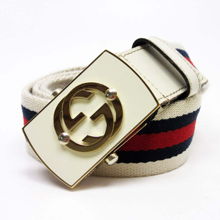 d97ea04c5 BrandValue: Gucci GUCCI belt (80/32) interlocking grip G buckle: White / gold  belt: Red / navy / white nylon x leather Lady's men - t11901 | Rakuten  Global ...