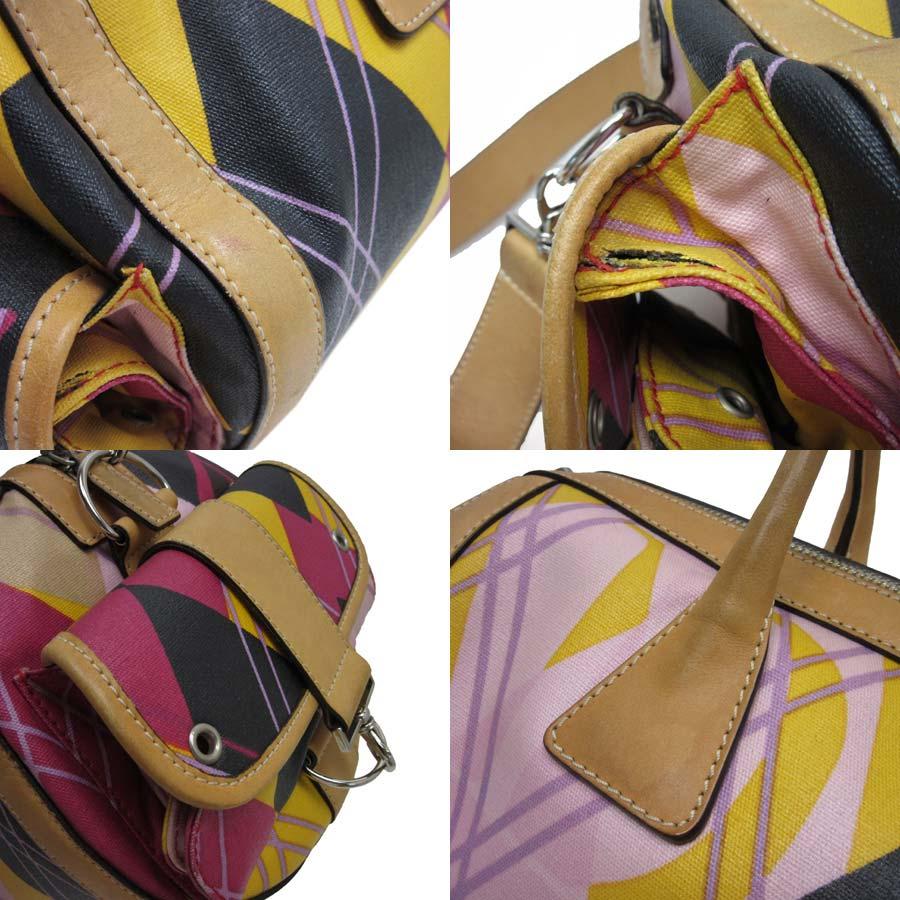 克裏斯琴迪奥Christian Dior手提包黑色x駱駝x多表面塗層帆布x皮革女士9800日圆相等-h16030