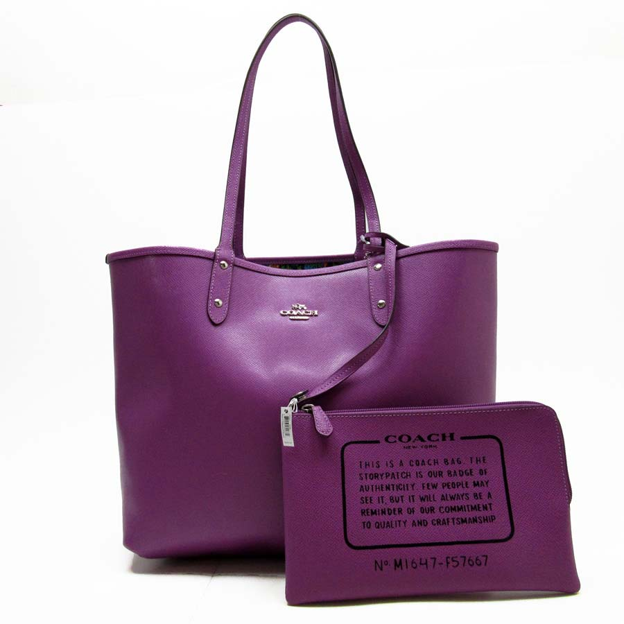 Basic Pority Used Coach Shoulder Bag Tote Lady S Purple Leather