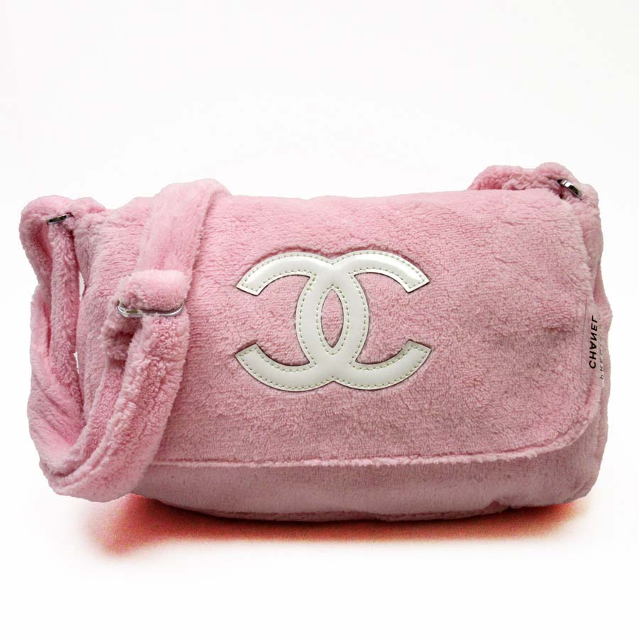 Novelty Used Take Chanel Precision Here Mark Slant Shoulder Bag Lady S Pink X White Pile Enamel