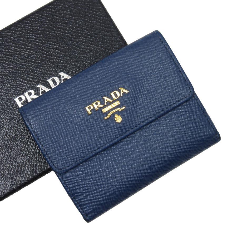 プラダ PRADA コインケース カードケース ブルーxゴールド レザー レディース 【中古】【定番人気】 - t12100